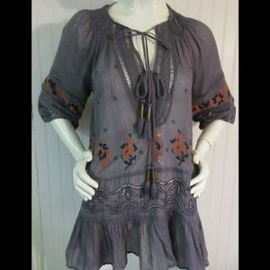 Anthropologie Free People tunic embroidery sz XS